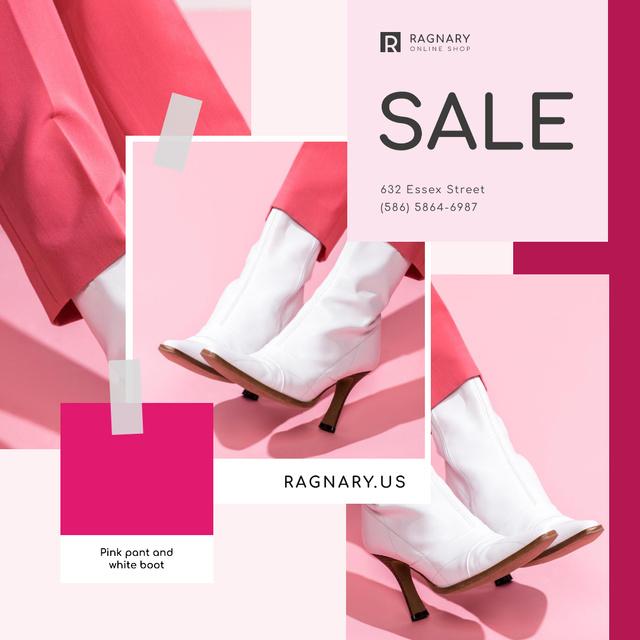 Ontwerpsjabloon van Instagram van Shoes Store Ad Female Legs in Ankle Boots