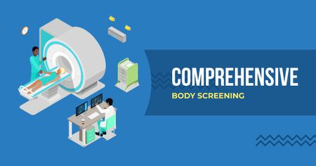 Designvorlage Comprehensive body screening illustration für Facebook AD