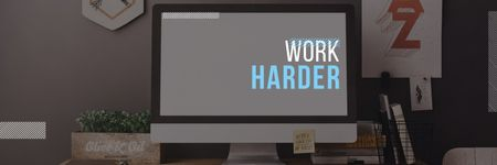 work harder motivational poster Twitter Design Template