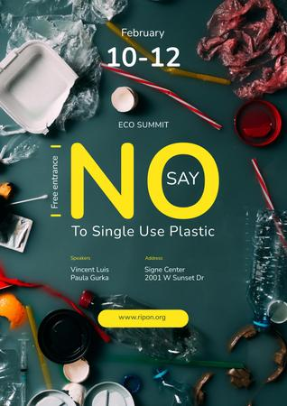 Plastic Waste Concept Disposable Tableware Poster Modelo de Design