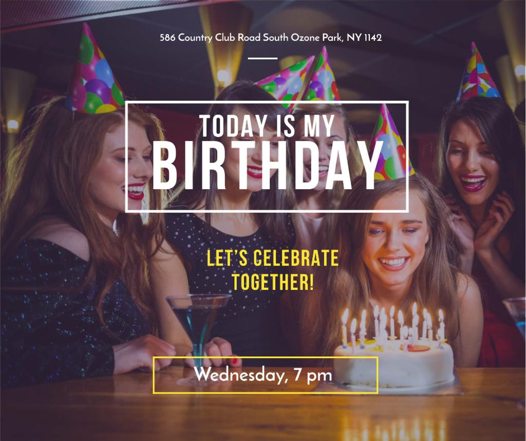 Birthday Invitation Girl blowing Candles on Cake — Maak een ontwerp