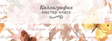 Calligraphy workshop Annoucement Facebook cover – шаблон для дизайна