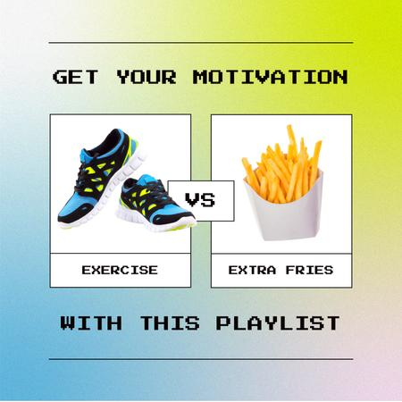 Music Playlist Promotion with Joke about Healthy Lifestyle Album Coverデザインテンプレート