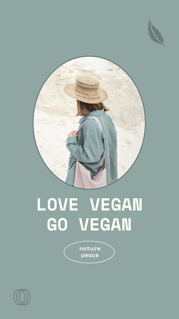 Vegan Lifestyle Concept with Girl in Summer Hat Instagram Story – шаблон для дизайна