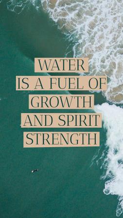 Plantilla de diseño de Citation about Water with Ocean Waves Instagram Story