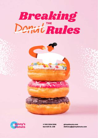 Template di design Woman eating Huge Delicious Donuts Poster