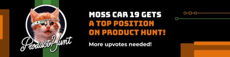 Modèle de visuel Product Hunt Campaign Promotion with Cat Logo - Web Banner