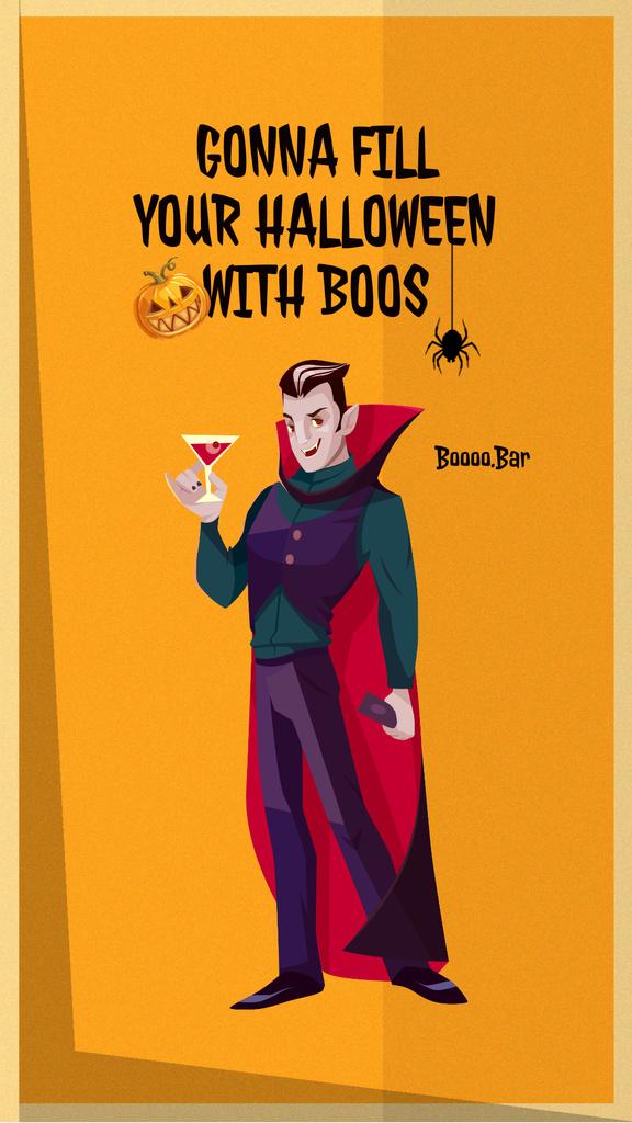 Halloween Celebration with Dracula holding Wine Instagram Story – шаблон для дизайна