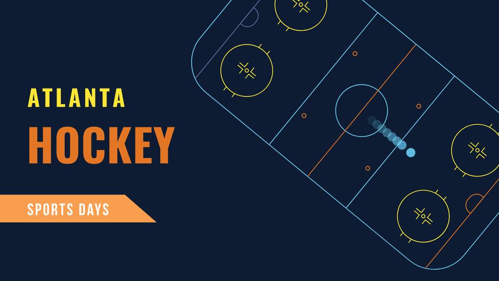 Hockey Match Announcement with Sport Field illustration FB event cover – шаблон для дизайна