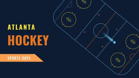 Designvorlage Hockey Match Announcement with Sport Field illustration für FB event cover