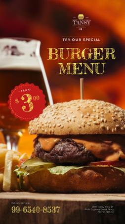 Fast Food Offer with Tasty Burger Instagram Story Modelo de Design