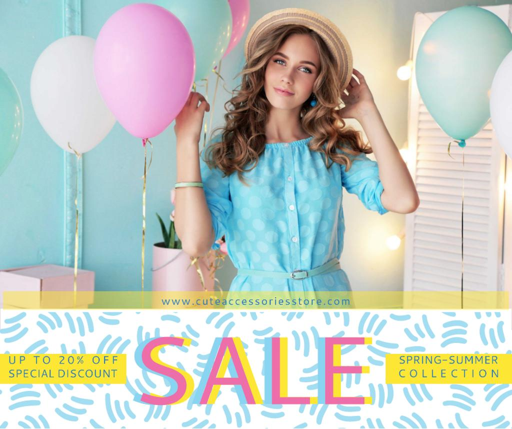 Fashion sale ad Woman holding colorful balloons — Crear un diseño