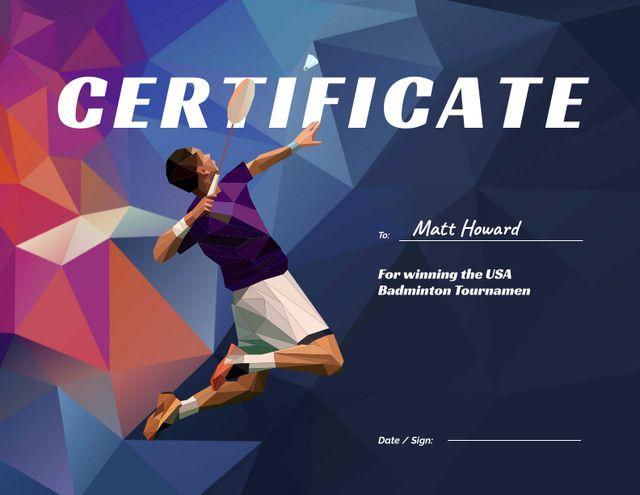Achievement Award in Badminton Tournament Certificate Modelo de Design