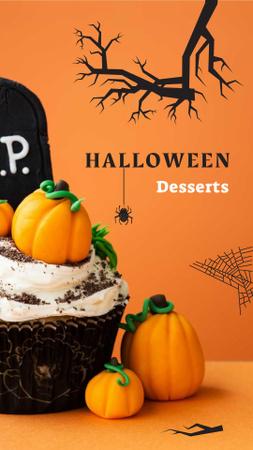 Halloween Desserts Offer with Pumpkin Cookies Instagram Story Modelo de Design
