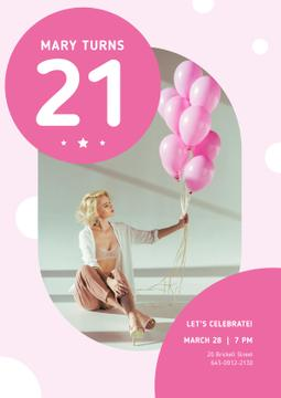 Birthday Party Invitation with Girl with Pink Balloons