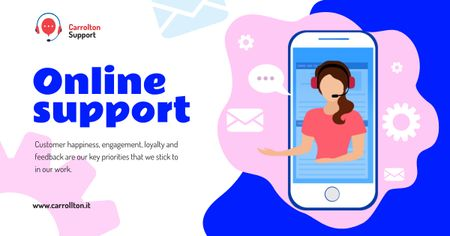 Online Support services on Phone Facebook AD – шаблон для дизайну