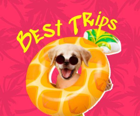 Funny Cute Dog in Bright Inflatable Ring Medium Rectangle Modelo de Design