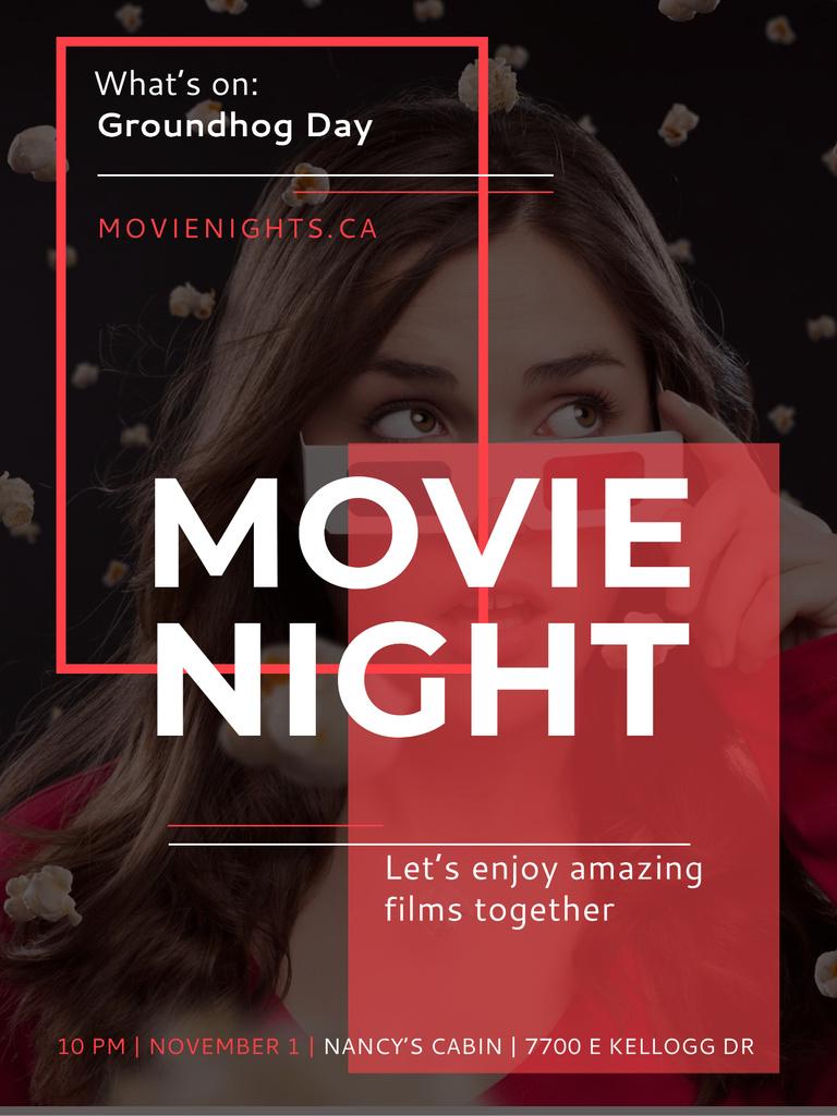 Ontwerpsjabloon van Poster US van Movie Night Event Woman in 3d Glasses