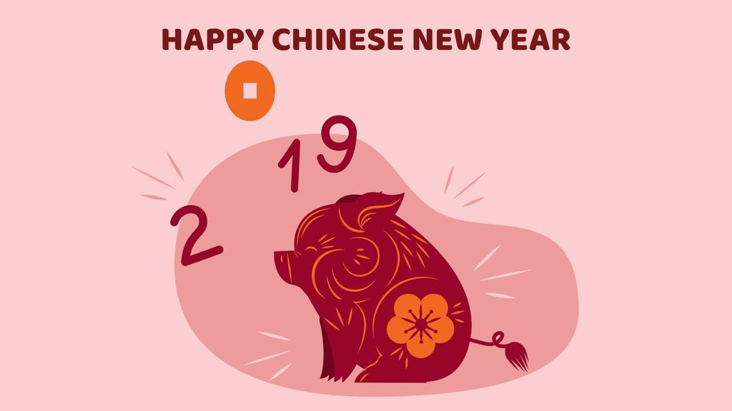 Happy Chinese New Year Pig with Coin — Modelo de projeto