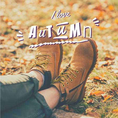 Autumn Inspiration with Woman in Hiking Boots Instagram Design Template