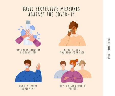 #FlattenTheCurve of Coronavirus with Protective measures instruction Facebook Tasarım Şablonu