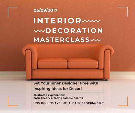 Plantilla de diseño de Interior decoration masterclass with Sofa in red Facebook