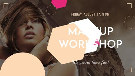 Makeup Workshop promotion with Attractive Woman FB event cover Tasarım Şablonu