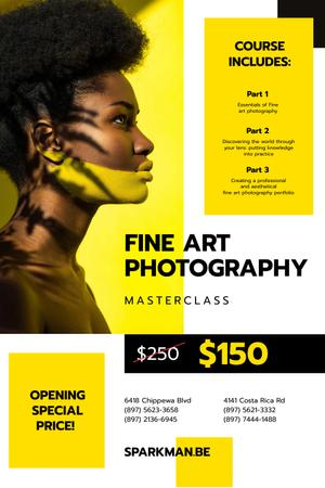Photography Masterclass Promotion with Young Woman Pinterestデザインテンプレート