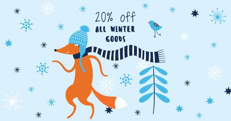 Modèle de visuel Winter Goods Sale with Cute Fox - Facebook AD