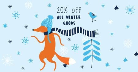 Winter Goods Sale with Cute Fox Facebook ADデザインテンプレート
