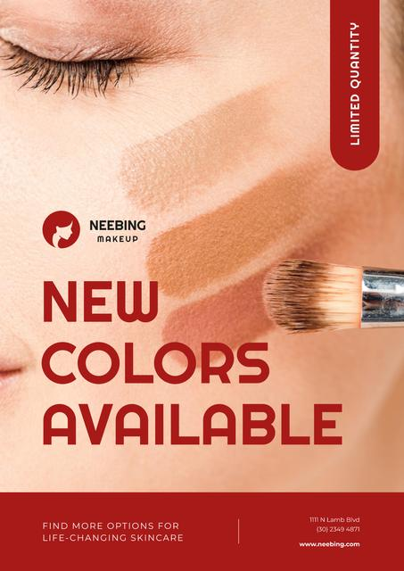 Cosmetics Promotion with Woman Applying Foundation Poster – шаблон для дизайну