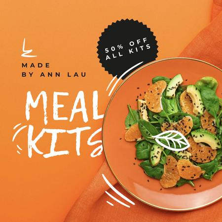 Meal Kits ad with Healthy Salad Instagram AD Tasarım Şablonu
