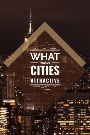 City Guide with Night Skyscraper Lights Pinterest Modelo de Design