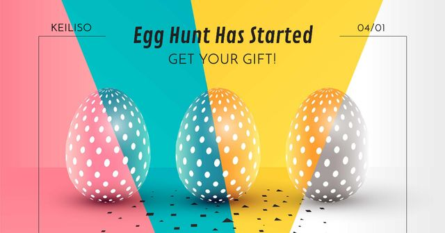 Egg hunt in Happy Easter Day Facebook AD – шаблон для дизайну