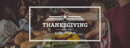 Ontwerpsjabloon van Facebook cover van Family on Thanksgiving Dinner