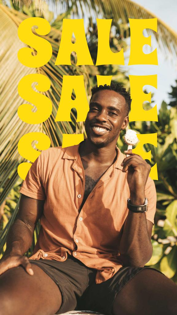 Summer Sale Ad with Smiling Young Man Instagram Story Design Template