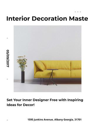 Interior Decoration Event Announcement with Sofa in Yellow Pinterest – шаблон для дизайну