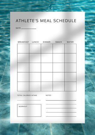 Athlete's Meal Schedule Schedule Planner Design Template