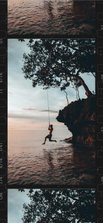 Ontwerpsjabloon van Snapchat Moment Filter van Man Jumping in Water from cliff