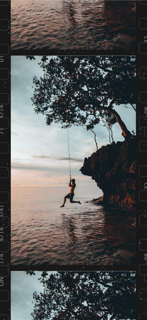 Man Jumping in Water from cliff Snapchat Moment Filter – шаблон для дизайну