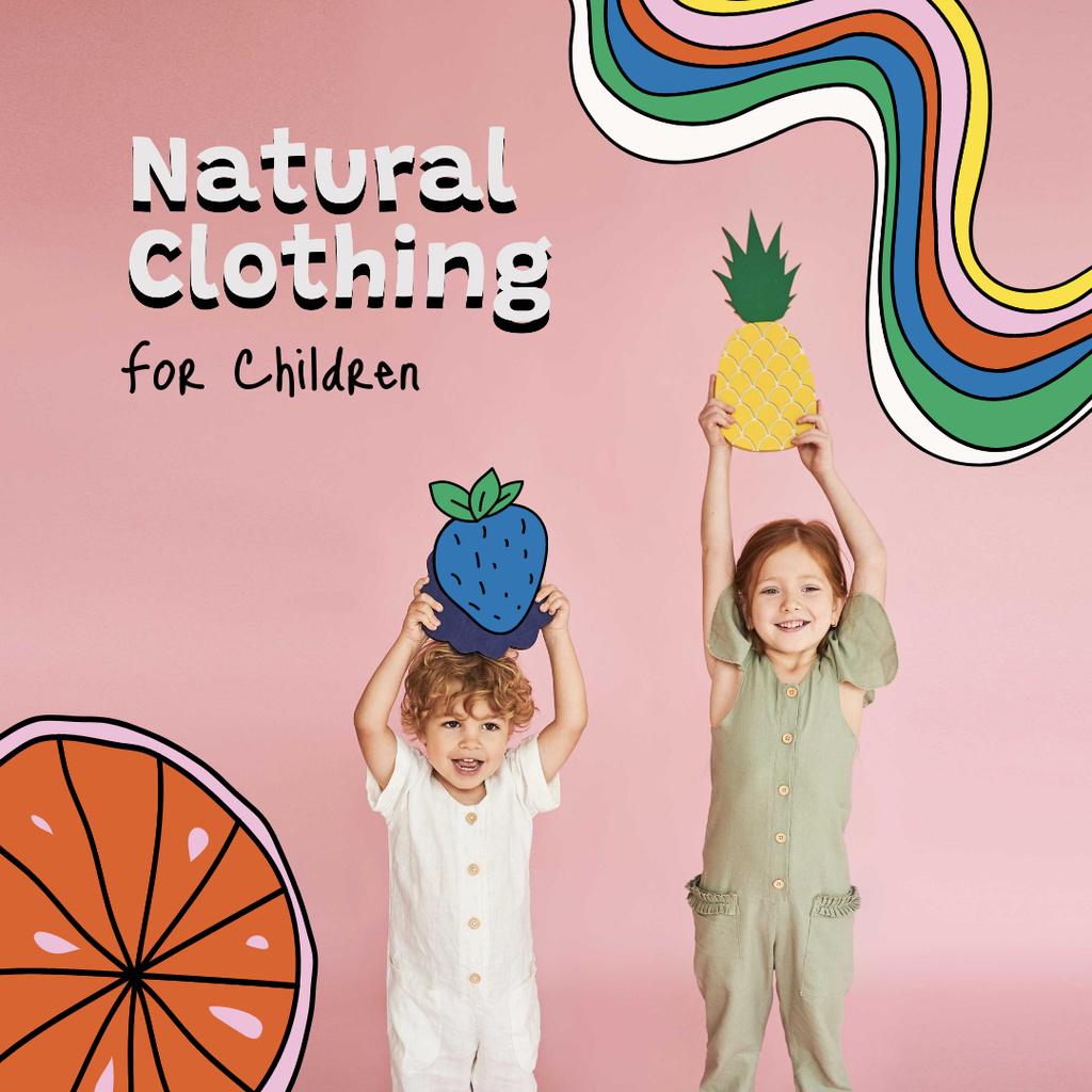 Natural Clothing for Kids Offer Instagram Šablona návrhu