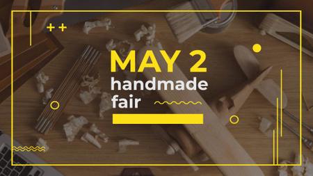 Handmade Fair Announcement with Wooden Toy Plane FB event cover – шаблон для дизайну