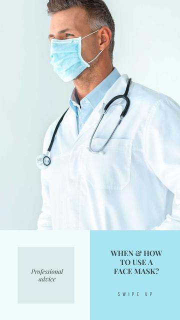 Plantilla de diseño de Professional advice with Doctor in Medical Mask Instagram Story