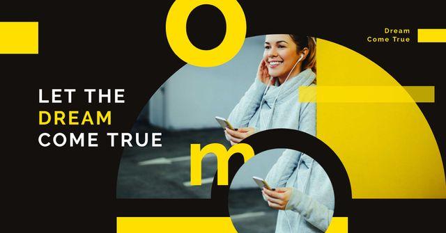Plantilla de diseño de Woman listening music on smartphone Facebook AD