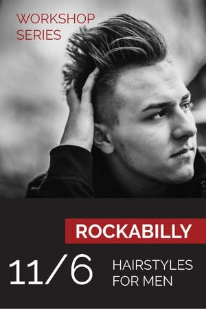 Workshop announcement Man with rockabilly hairstyle Tumblr Modelo de Design