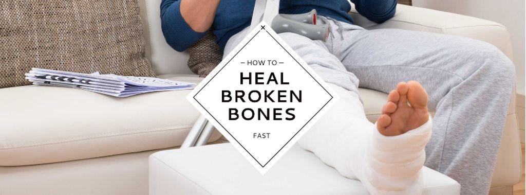 Man with broken bones sitting on sofa — Создать дизайн