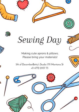 Sewing day event Announcement Poster – шаблон для дизайна