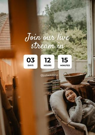 Live Stream Ad with Woman in Cozy Armchair Poster – шаблон для дизайну