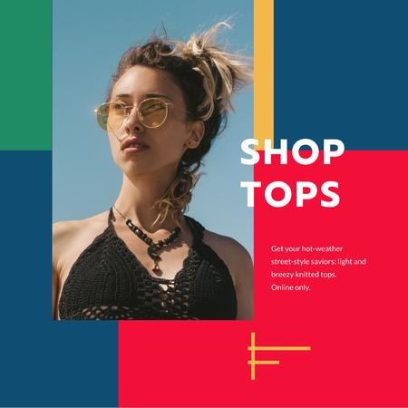 Fashion Tops sale ad with Girl in sunglasses Instagram tervezősablon