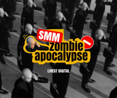 Marketing Agency Ad with Funny Joke about Zombie Facebook – шаблон для дизайна